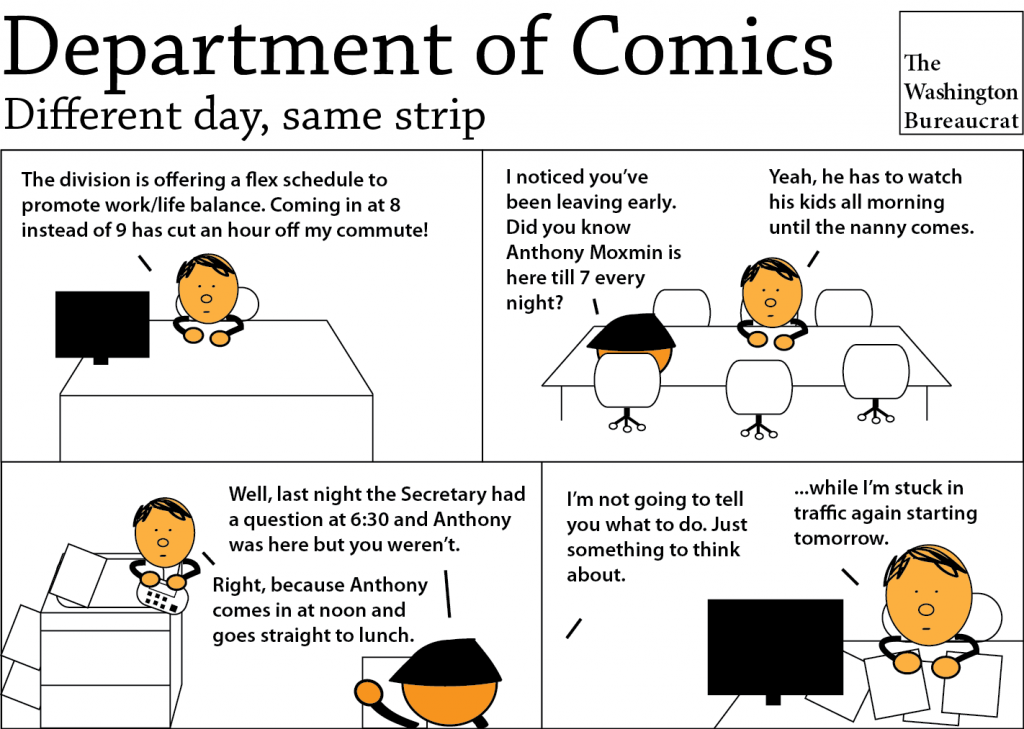 Comic about staying late for appearances