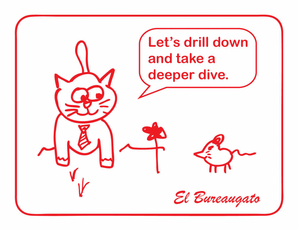 "El Bureaugato says, ""Let's drill down and take a deeper dive."""