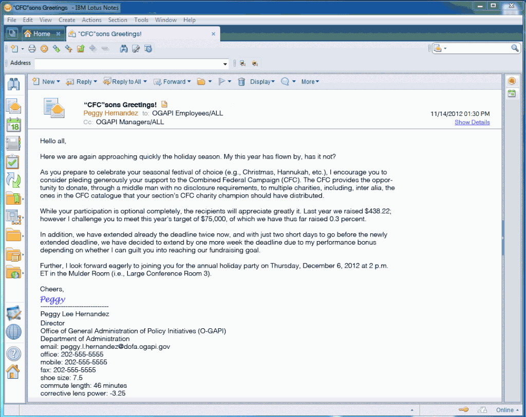 An email from the Director asking employees to donate to the CFC