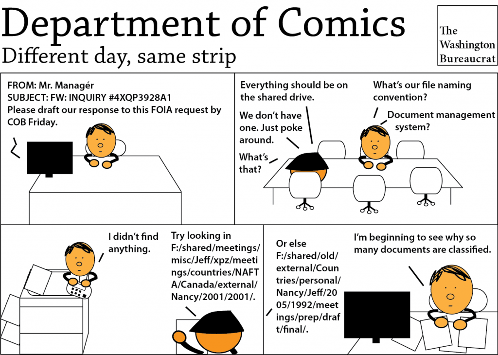 Comic about why it takes so long to respond to FOIA requests