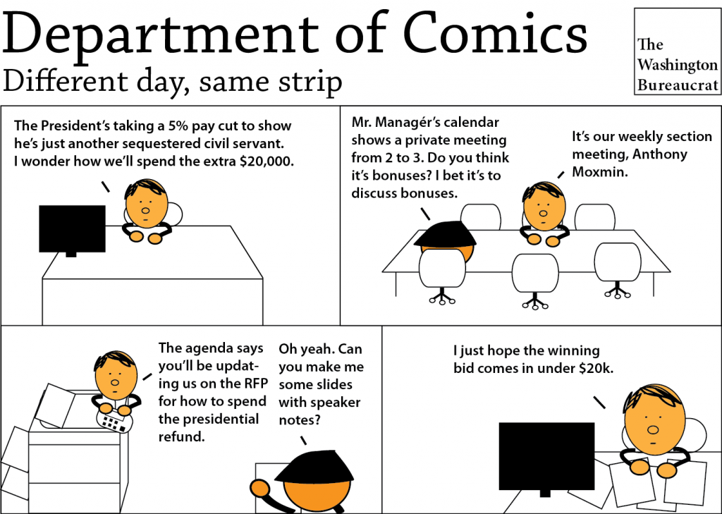 Comic about the President giving back some of his salary because of the sequester