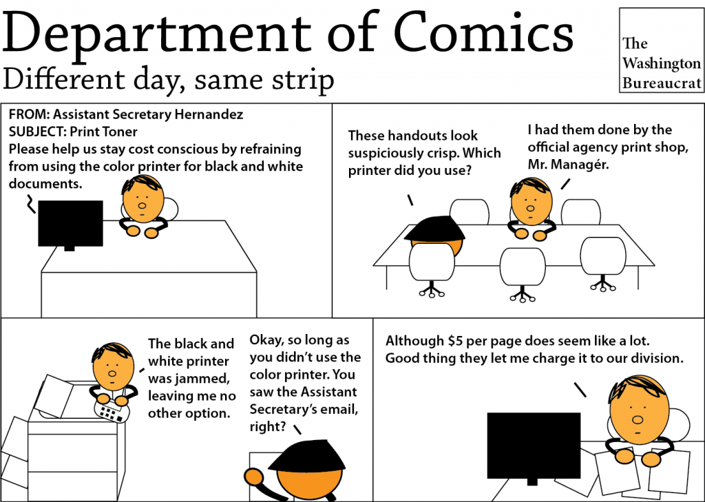 Comic about cost cutting measures