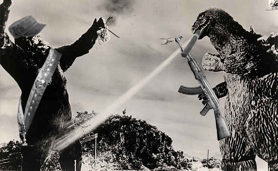 Godzilla politely requests that King Kong hand over the power sash.