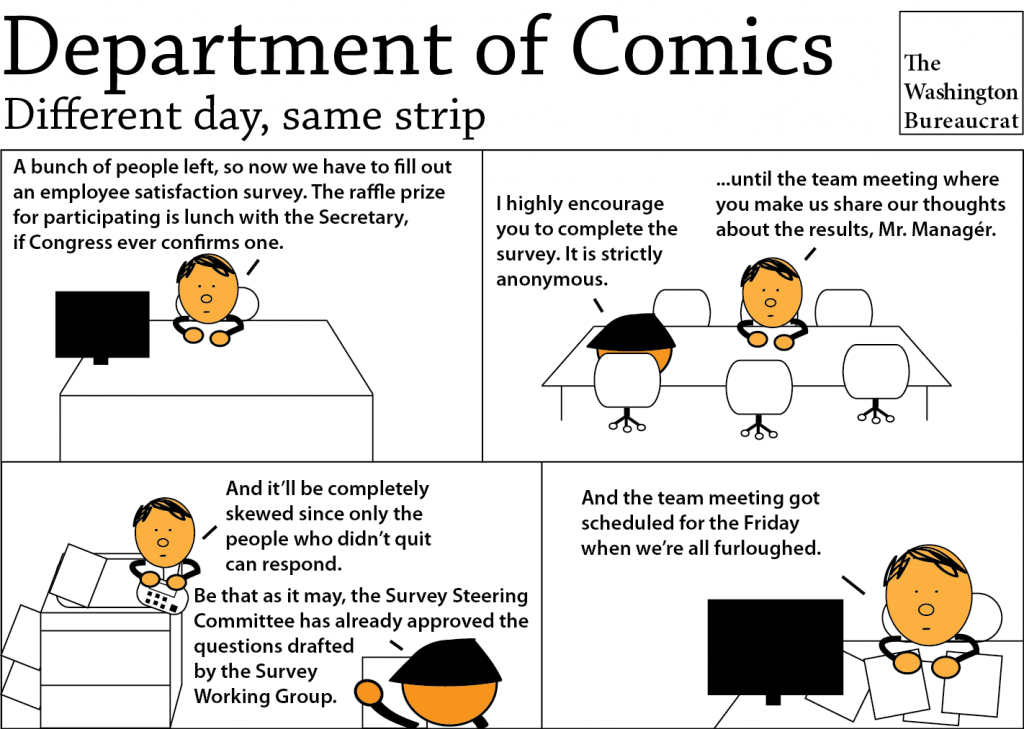 Comic about an employee satisfaction survey